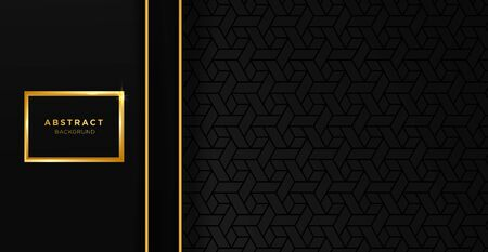 Black and gold luxury template background with ornament, can be used for premium wedding invitation, banner, golden flyer. Banco de Imagens - 149178124