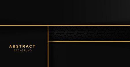 Black and gold luxury template background with ornament, can be used for premium wedding invitation, banner, golden flyer. Banco de Imagens - 149178130