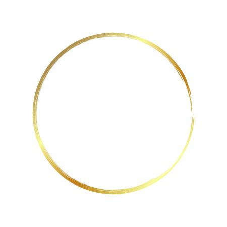 golden circle frame, hand-drawn golden circle, isolated on a white background.