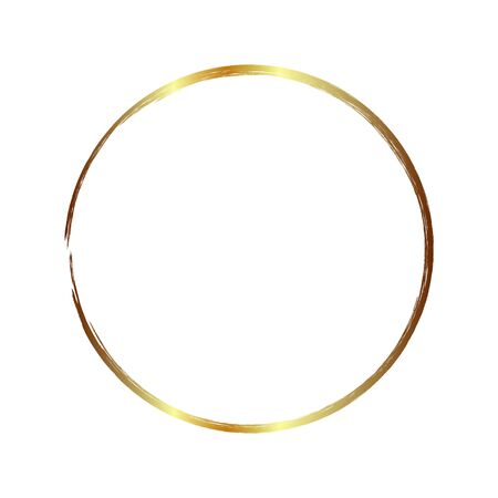golden circle frame, hand-drawn golden circle, isolated on a white background. Banco de Imagens - 149886072