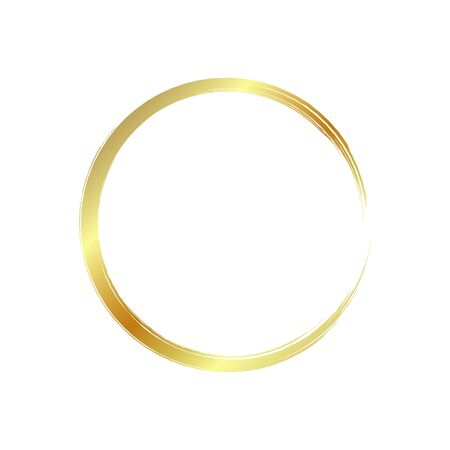 golden circle frame, hand-drawn golden circle, isolated on a white background. Banco de Imagens - 149886073