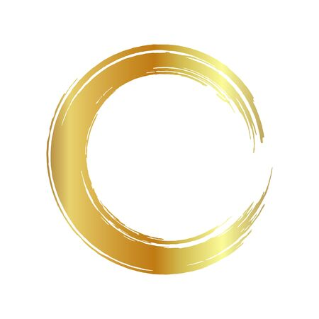 golden circle frame, hand-drawn golden circle, isolated on a white background. Banco de Imagens - 149886075