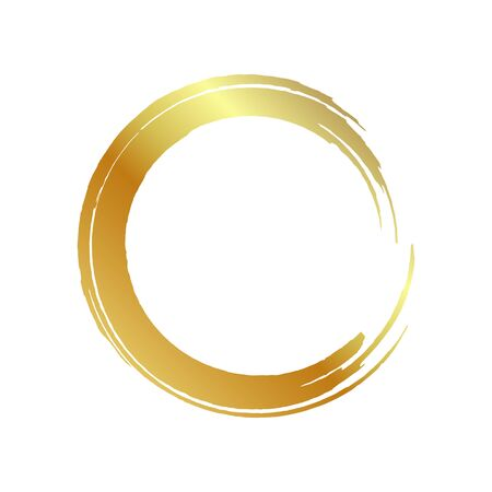 golden circle frame, hand-drawn golden circle, isolated on a white background. Banco de Imagens - 149886076
