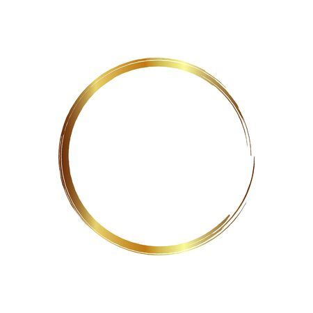golden circle frame, hand-drawn golden circle, isolated on a white background. Banco de Imagens - 149886077