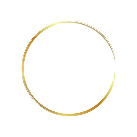 golden circle frame, hand-drawn golden circle, isolated on a white background. Banco de Imagens - 149886216