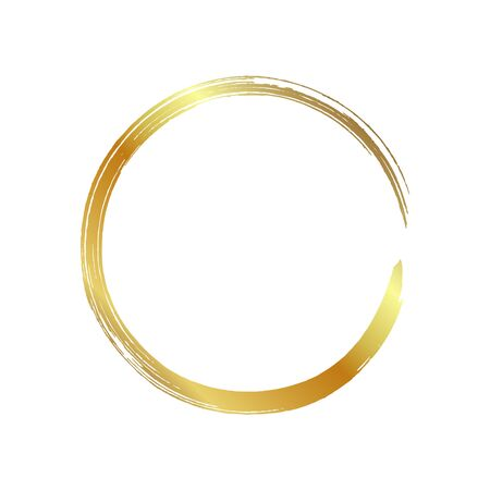 golden circle frame, hand-drawn golden circle, isolated on a white background. Banco de Imagens - 149886217