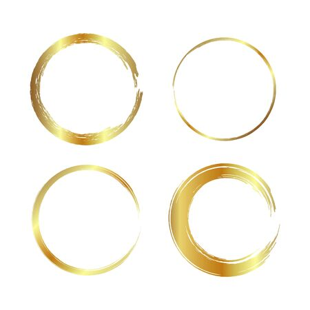 golden circle frame, hand-drawn golden circle, isolated on a white background. Banco de Imagens - 149886219