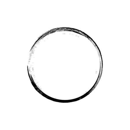 black circle hand drawn concept, circle shaped grunge brush strokes.