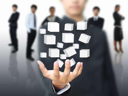 Business man holding virtual box photo