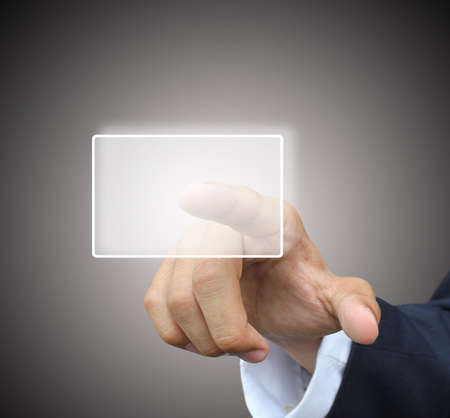 Business hand press touchscreen Stock Photo