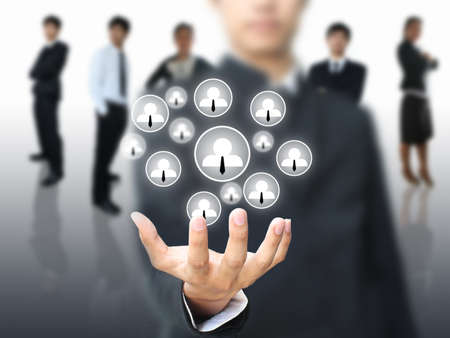 interaccion social: Red social en mano de negocio