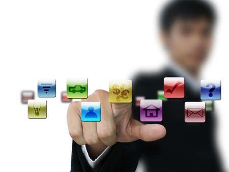 Business man press money icon Stock Photo - 10326353