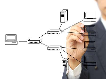computer hardware: Businessman write multi point connection