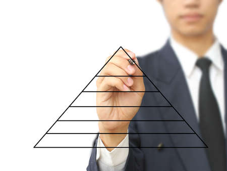 objectives: Businessman write pyramid diagram Stock Photo