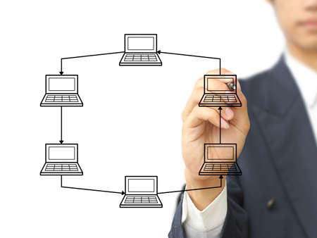 Businessman design Ring topology network  Stock Photo