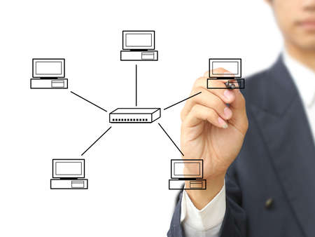 hubs: Businessman write Star topology