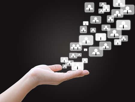 Hand holding social network