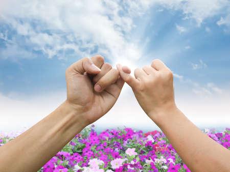 dedo meÑique: Promesa de mano Foto de archivo