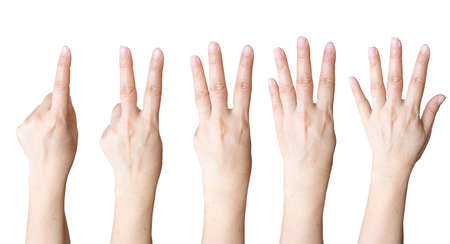 hand gestures: Hand make number collection Stock Photo