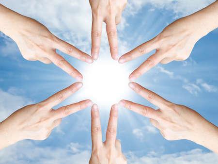 Hand make frame around the sun