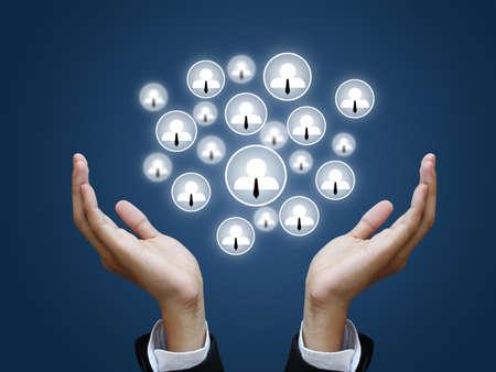 Businesshand holding social network photo