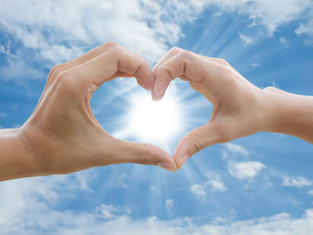 peace and love: Stock Photo: two hand make heart sign  Stock Photo