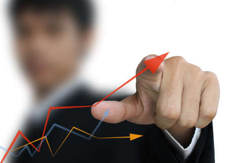 Business man write graph Stock Photo