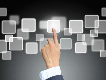 tecnologia: Affari mano stampa touchscreen