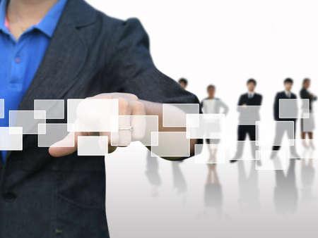 software: Businesswoman press touchscreen Stock Photo