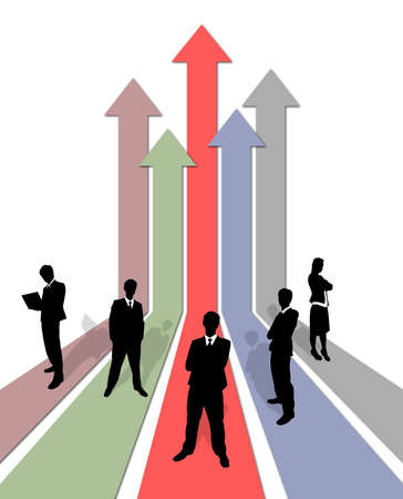 population growth: Business team on growing graph