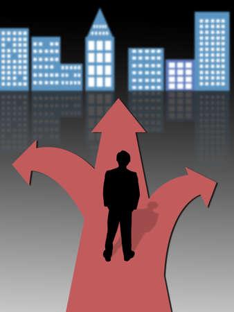 businessman standing at a crossroads photo