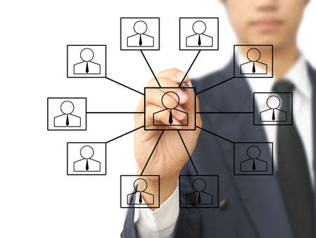 Businessman write social network diagram Stock Photo