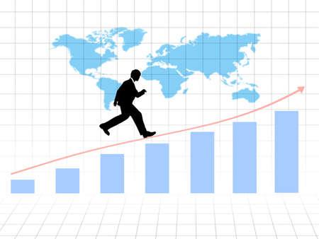 Businessman running on growing graph