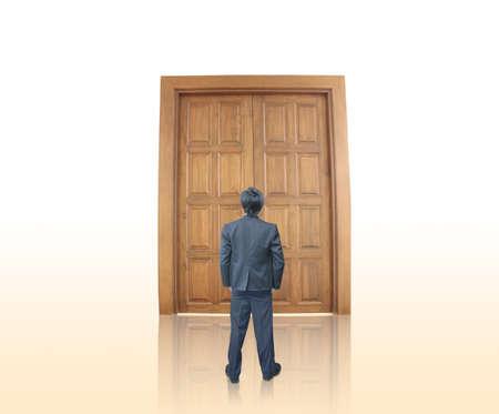 Businessman with door Stock Photo