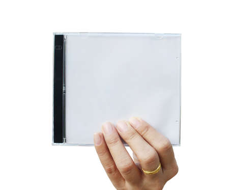 Hand holding CD cover Stock Photo