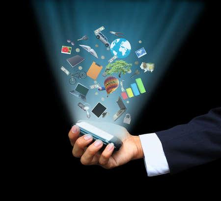 smart: Hand met magische telefoon Stockfoto