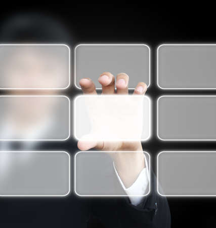 Man holding touchscreen Stock Photo