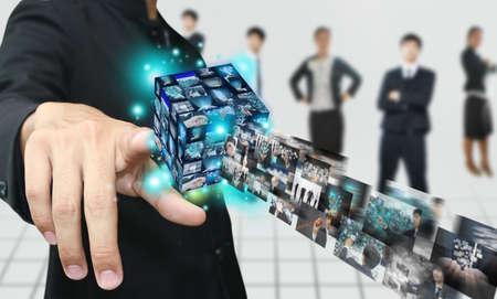 Hand press virtual box Stock Photo