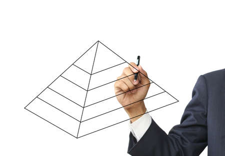 Businessman write pyramid diagram Stock Photo