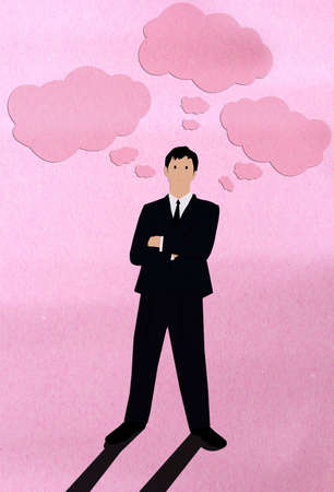 think up: Businessman think Stock Photo