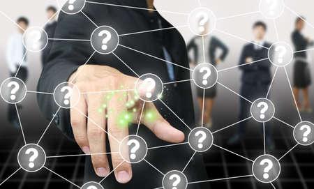 unsolvable: Businessman press question button