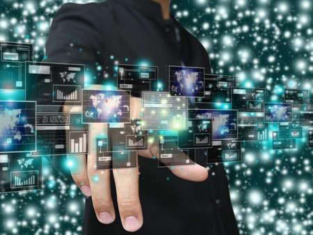 hologram: Hand press screen monitor Stock Photo