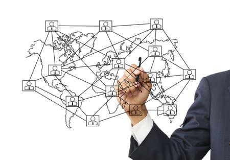 Businessman write social network