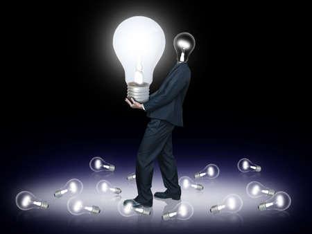Light bulb head carry bulb Stock Photo