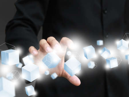 Man holding virtual box