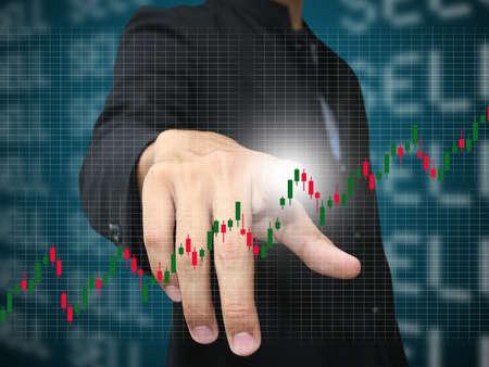 stock chart: man press stock chart Stock Photo