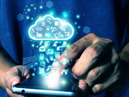 man press smart phone send data to cloud Reklamní fotografie