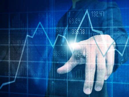Man push stock graph