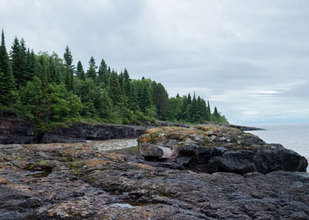 Rocky shore of Lake Superior Stock fotó