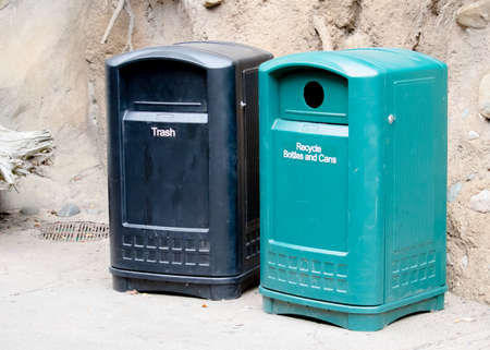 Trash and Recycling Bins in Park